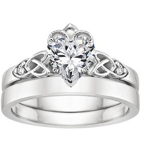 take a look at heart engagement ring and wedding set collections by brilliant earth like these below - Heart Wedding Ring Set