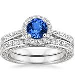 scroll engraved halo sapphire wedding ring set - Blue Sapphire Wedding Ring Sets