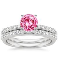 petite diamond shared prong pink sapphire wedding set