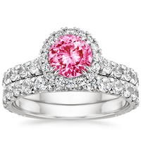 french pave and halo diamond pink sapphire wedding ring set - Pink Wedding Ring Set