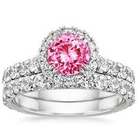Pink Wedding Ring Sets
