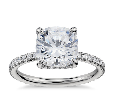 Cushion Cut Petite French Pave Crown Diamond Platinum Engagement Ring By  Blue Nile Studios · U0027