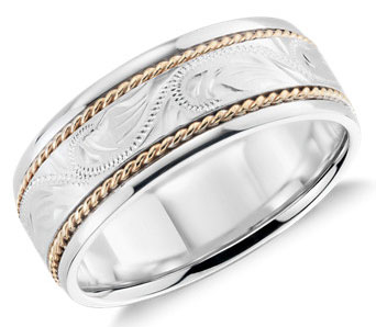 bands tone two mens ring wedding gold white yellow products large band