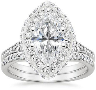 Circa Vintage Inspired Marquise Halo Diamond Platinum Wedding Set By Brilliant Earth