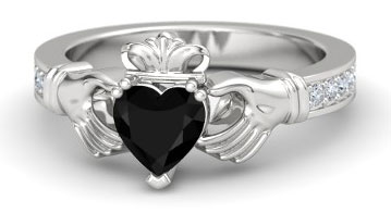 Black Onyx Heart With Diamonds Sterling Silver Ring · Starting At $540