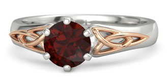 Fiona Celtic Style Red Garnet Palladium Engagement Ring With 18k Rose Gold Matching Band Available