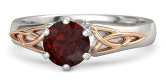 Fiona Red Garnet Palladium Engagement Ring With 18k Rose Gold By Gemvara