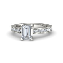 emerald cut 14k white gold ring