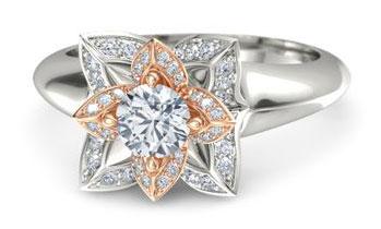 lotus flower diamond engagement ring