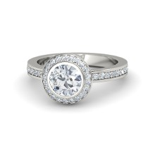 14k diamond halo engagement ring