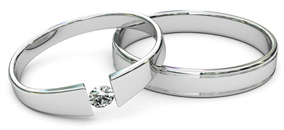 tension set diamond rings