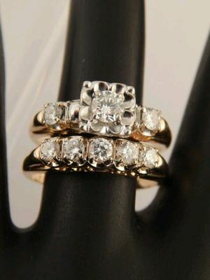 Two tone gold and diamond WWII era wedding set