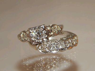 All white gold and diamond WWII era wedding set