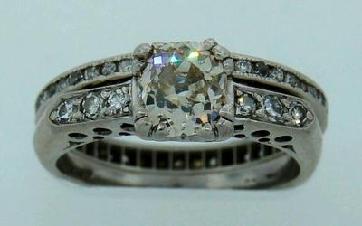 Possibly pre WWII era wedding set platinum and diamonds