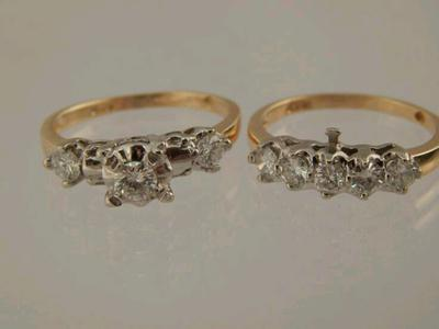 WWII era two toned gold and diamond set with intact connector on wedding band