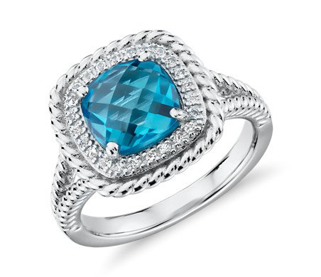 Corda Cushion Cut Swiss Blue Topaz Silver Ring By Blue Nile · U0027