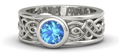 Blue Topaz Palladium Wedding Band By Gemvara