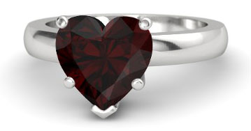 Merveilleux Sterling Silver Wedding Ring With Garnet Gemstone